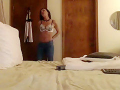 Brunette ChristinaCarera removes jeans and fucked pussy